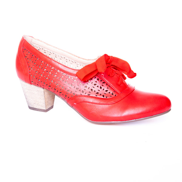 Selena by Dolce Nome | Lace Up Oxford Pumps in Red (main view)