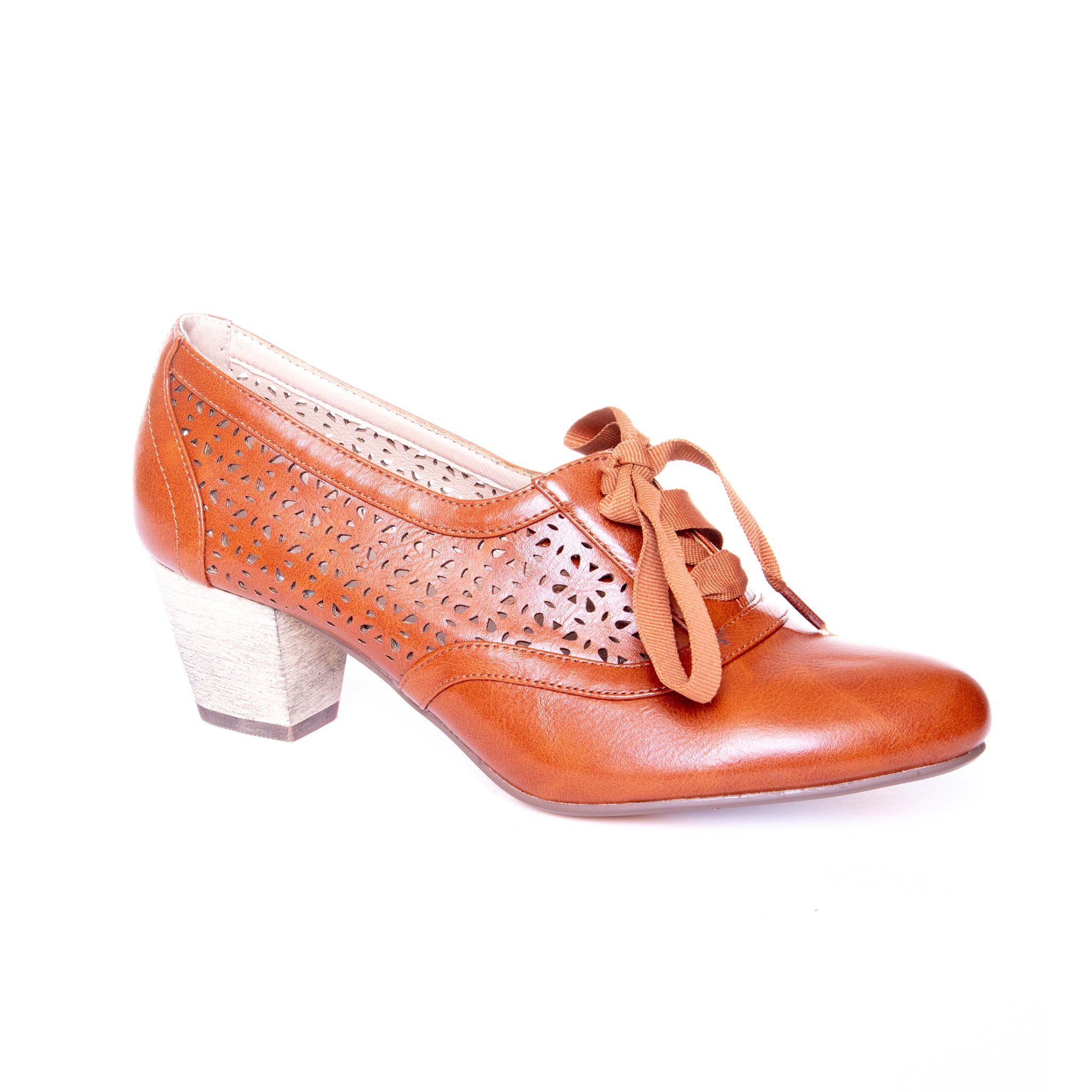 Selena by Dolce Nome | Lace Up Oxford Pumps in Tan (main view)
