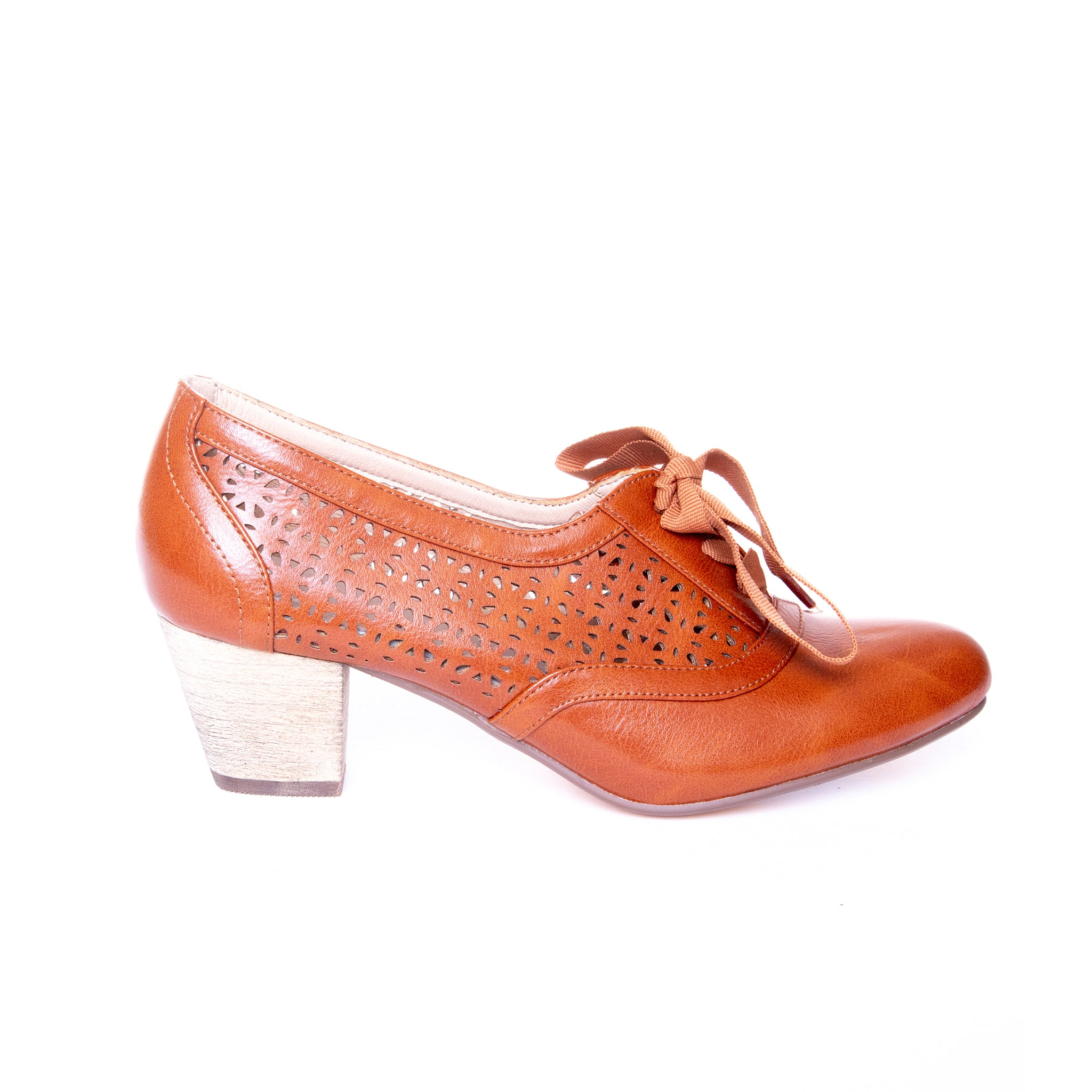 Selena by Dolce Nome | Lace Up Oxford Pumps in Tan (side view)