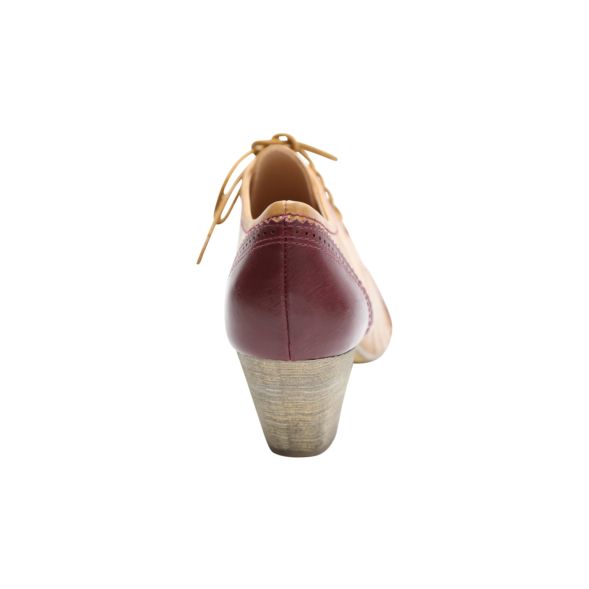 Selma by Dolce Nome | Two-Tone Oxford Pumps in Burgundy/Nude (back view)