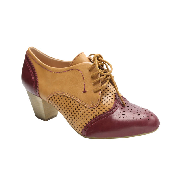 Selma by Dolce Nome | Two-Tone Oxford Pumps in Burgundy/Nude (main view)