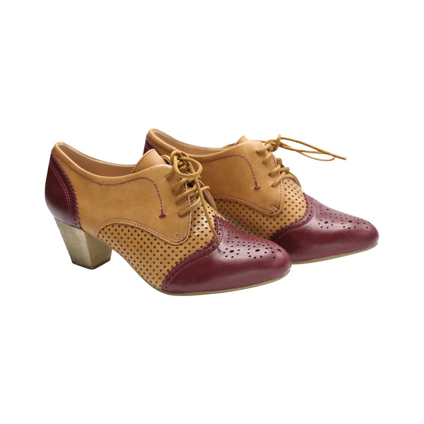 Selma by Dolce Nome | Two-Tone Oxford Pumps in Burgundy/Nude (pair view)