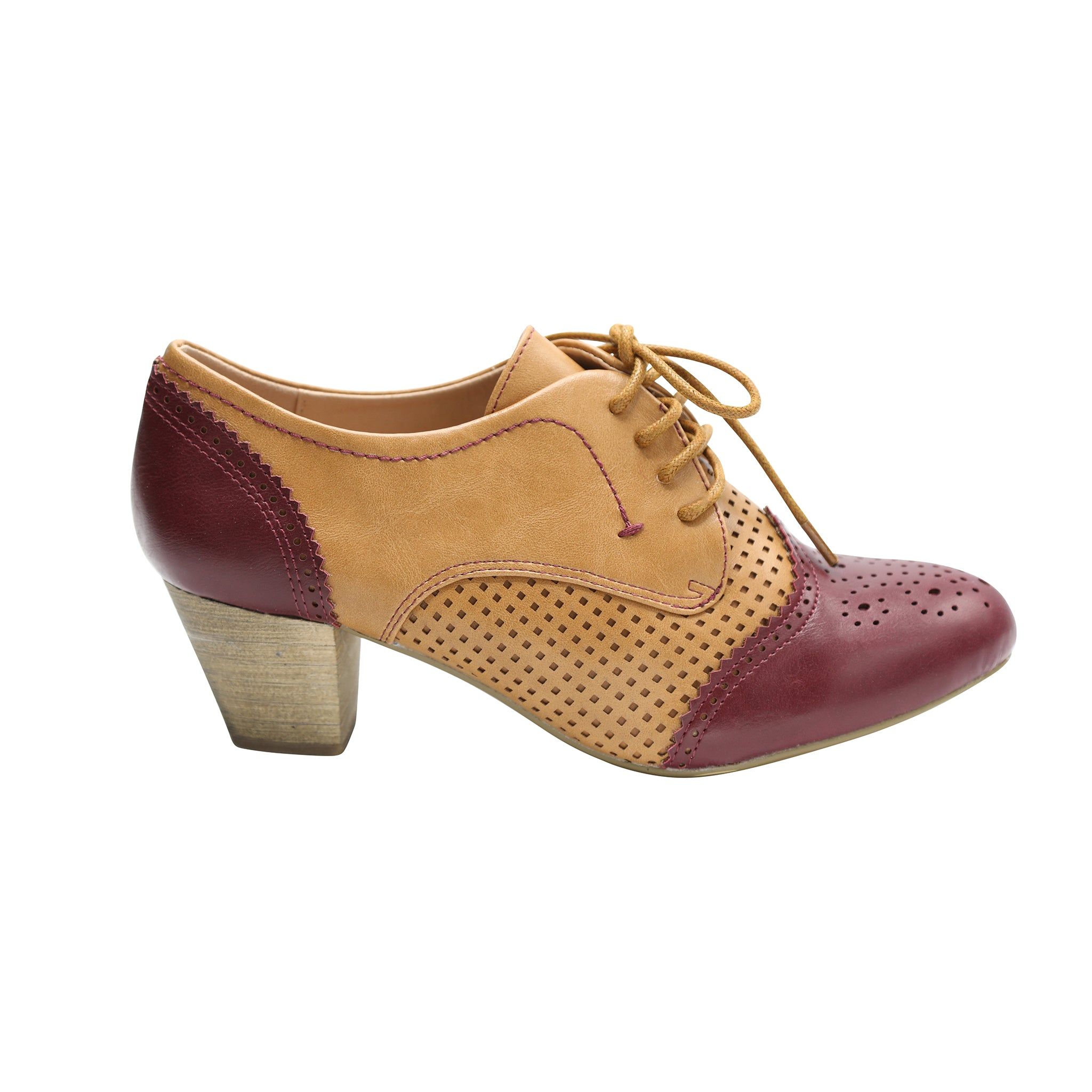 Selma by Dolce Nome | Two-Tone Oxford Pumps in Burgundy/Nude (side view)