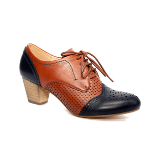 Selma by Dolce Nome | Two-Tone Oxford Pumps in Navy/Whiskey (main view)