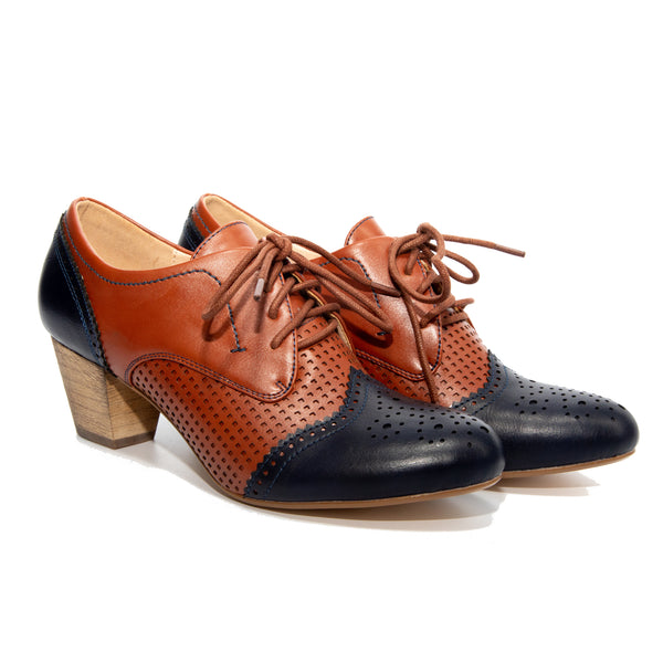 Selma by Dolce Nome | Two-Tone Oxford Pumps in Navy/Whiskey (pair view)