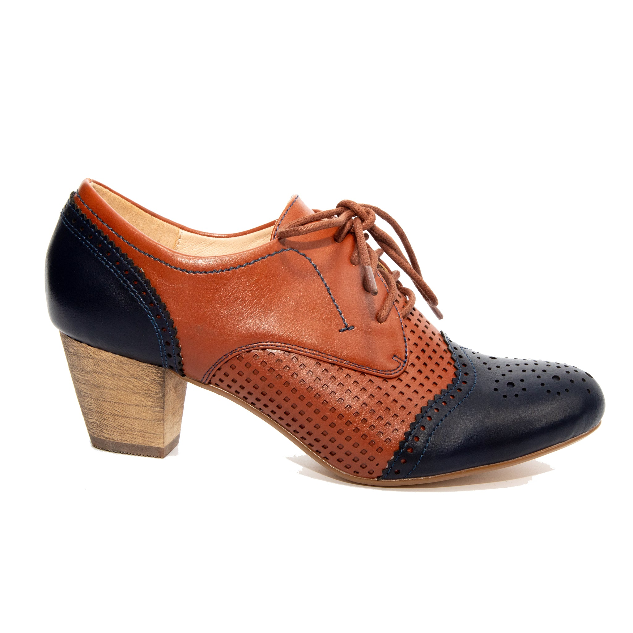 Selma by Dolce Nome | Two-Tone Oxford Pumps in Navy/Whiskey (side view)