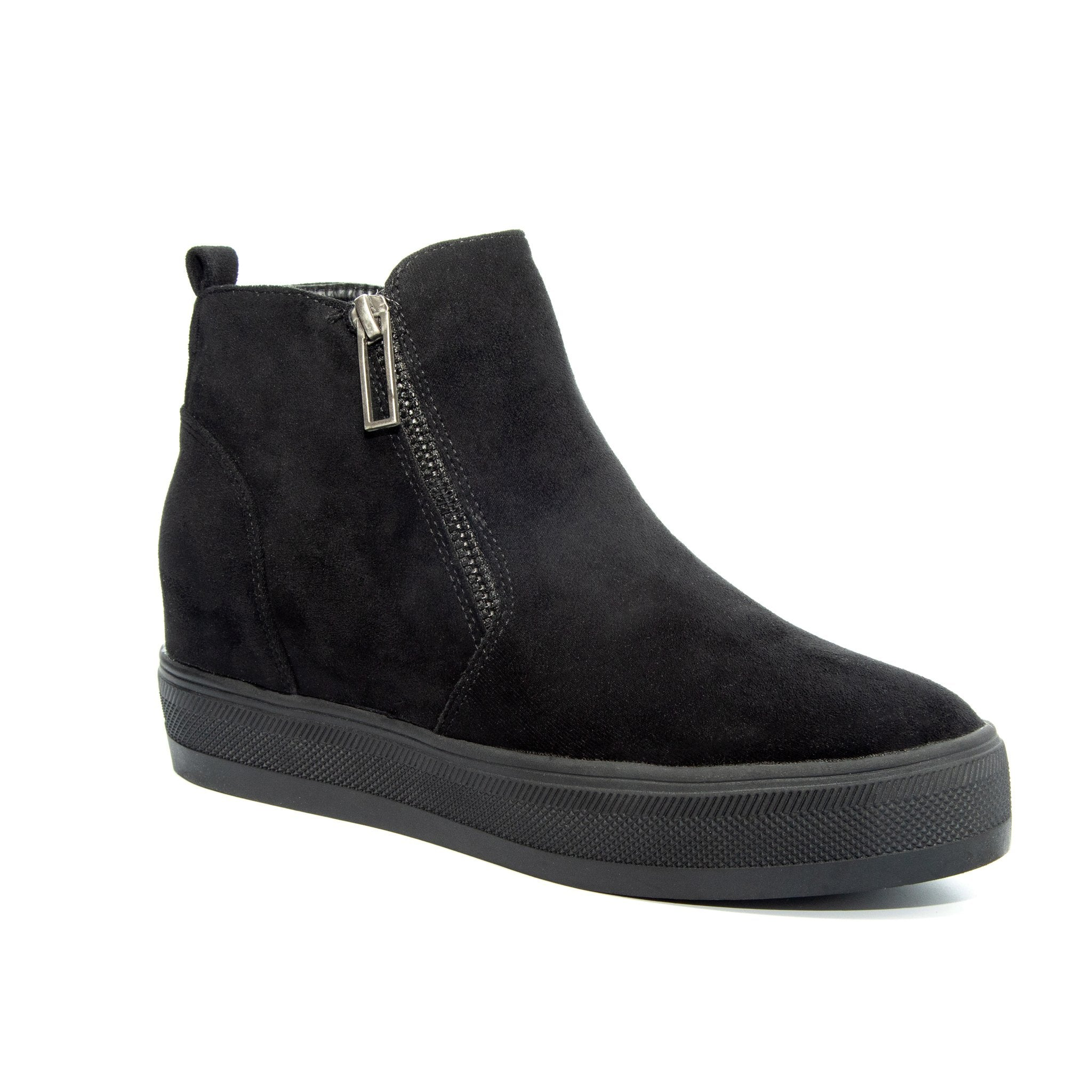 Solo by Dolce Nome | Flat Zipper Ankle Boots in Black (main view)