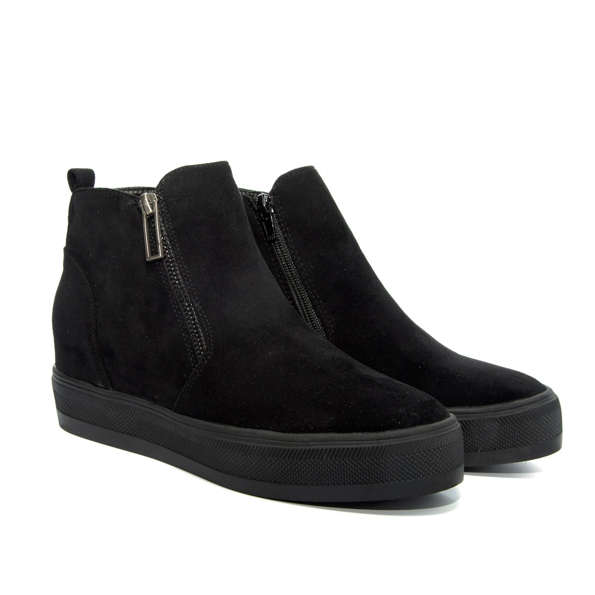 Solo by Dolce Nome | Flat Zipper Ankle Boots in Black (pair view)