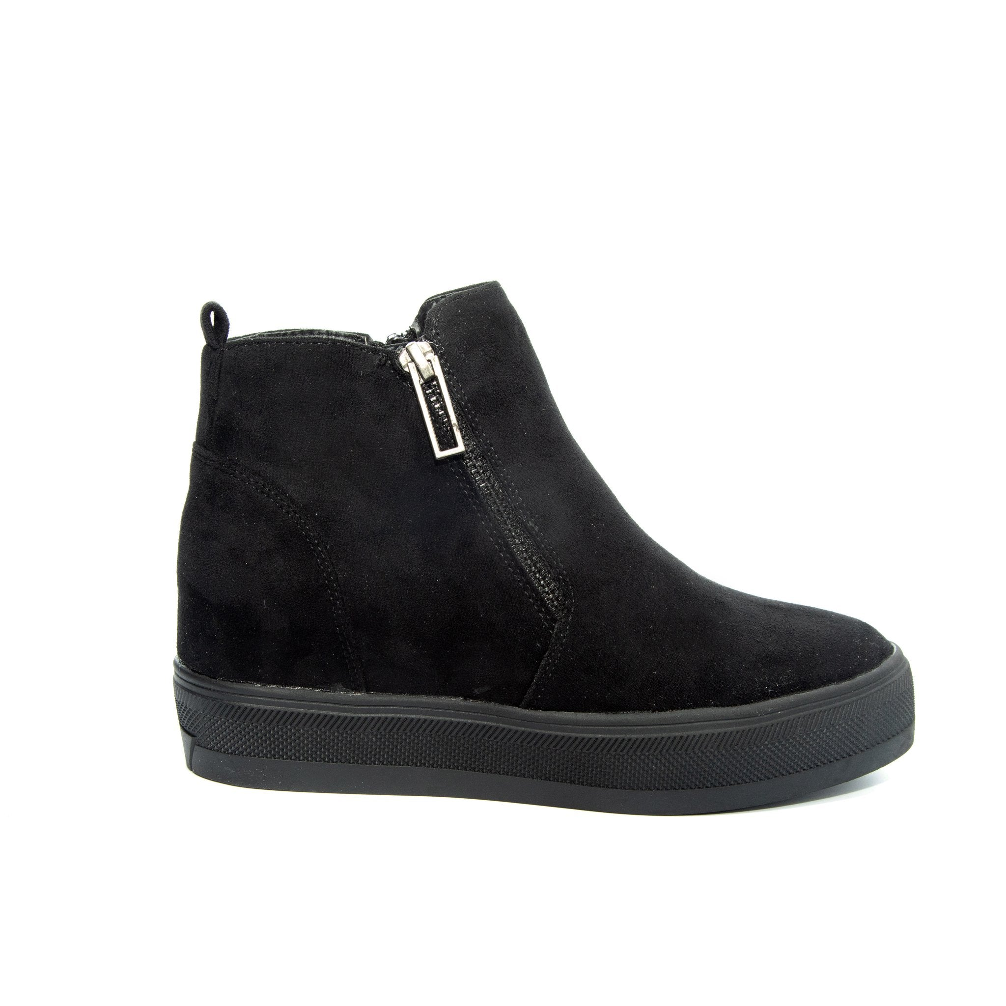 Solo by Dolce Nome | Flat Zipper Ankle Boots in Black (side view)