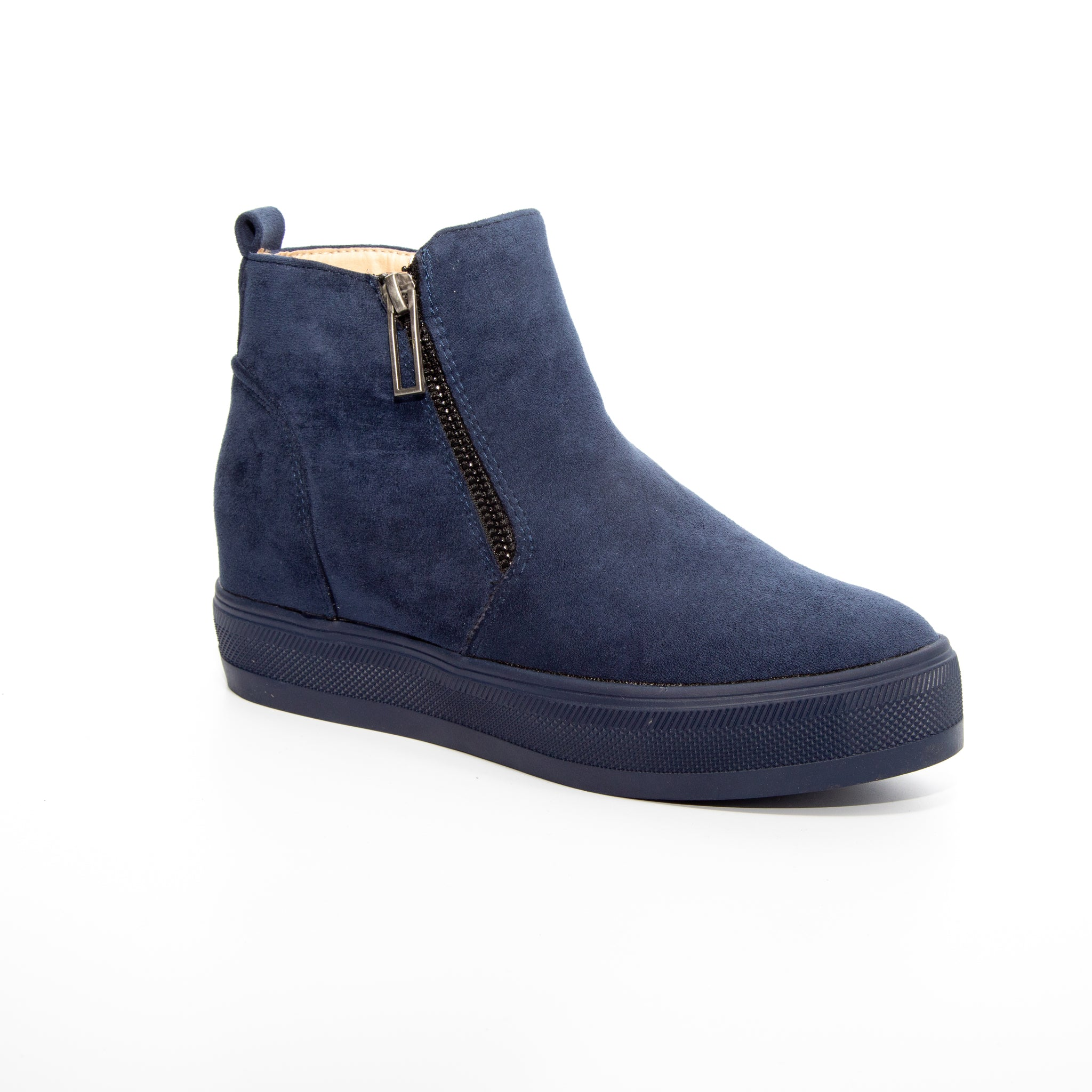 Solo by Dolce Nome | Flat Zipper Ankle Boots in Navy (main view)