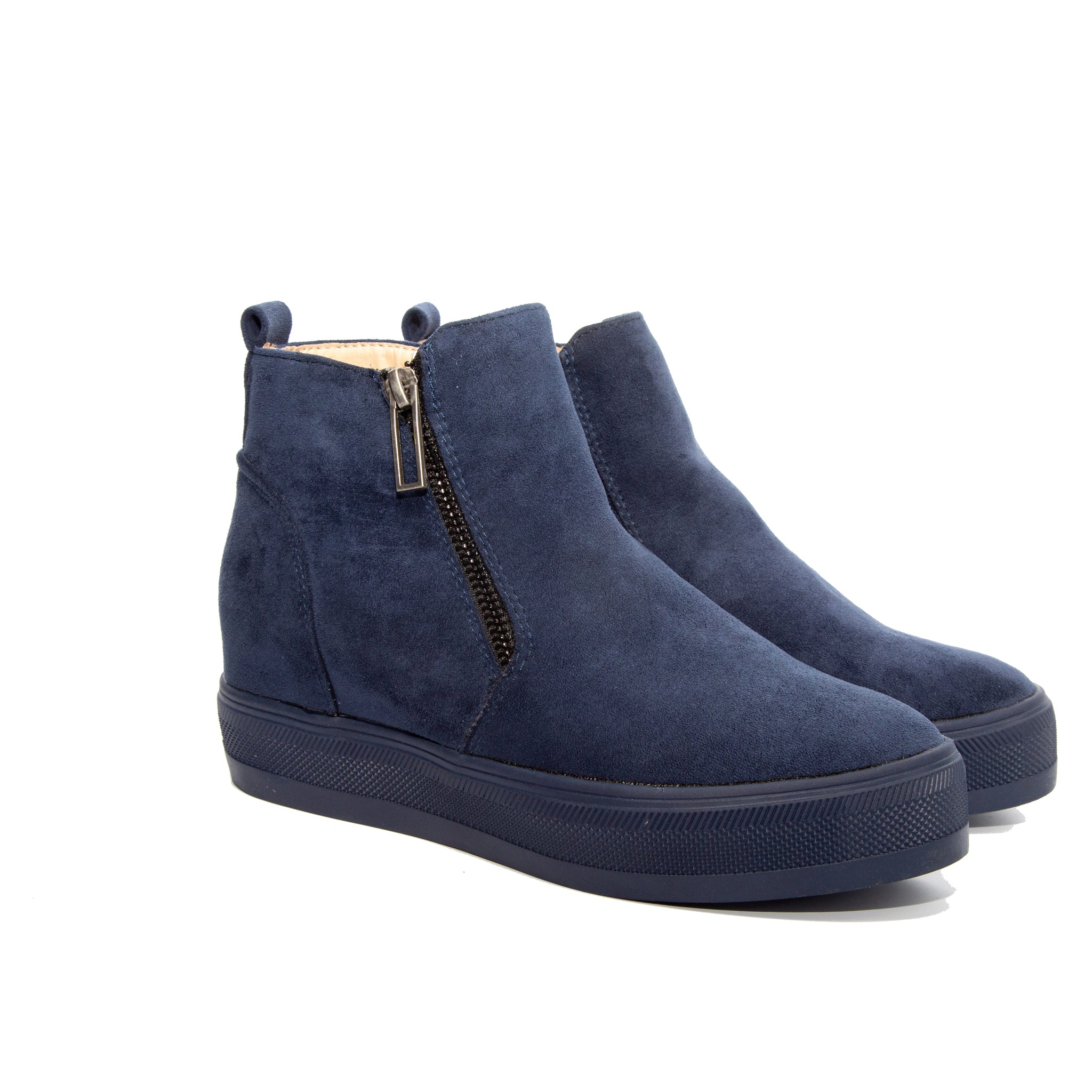 Solo by Dolce Nome | Flat Zipper Ankle Boots in Navy (pair view)