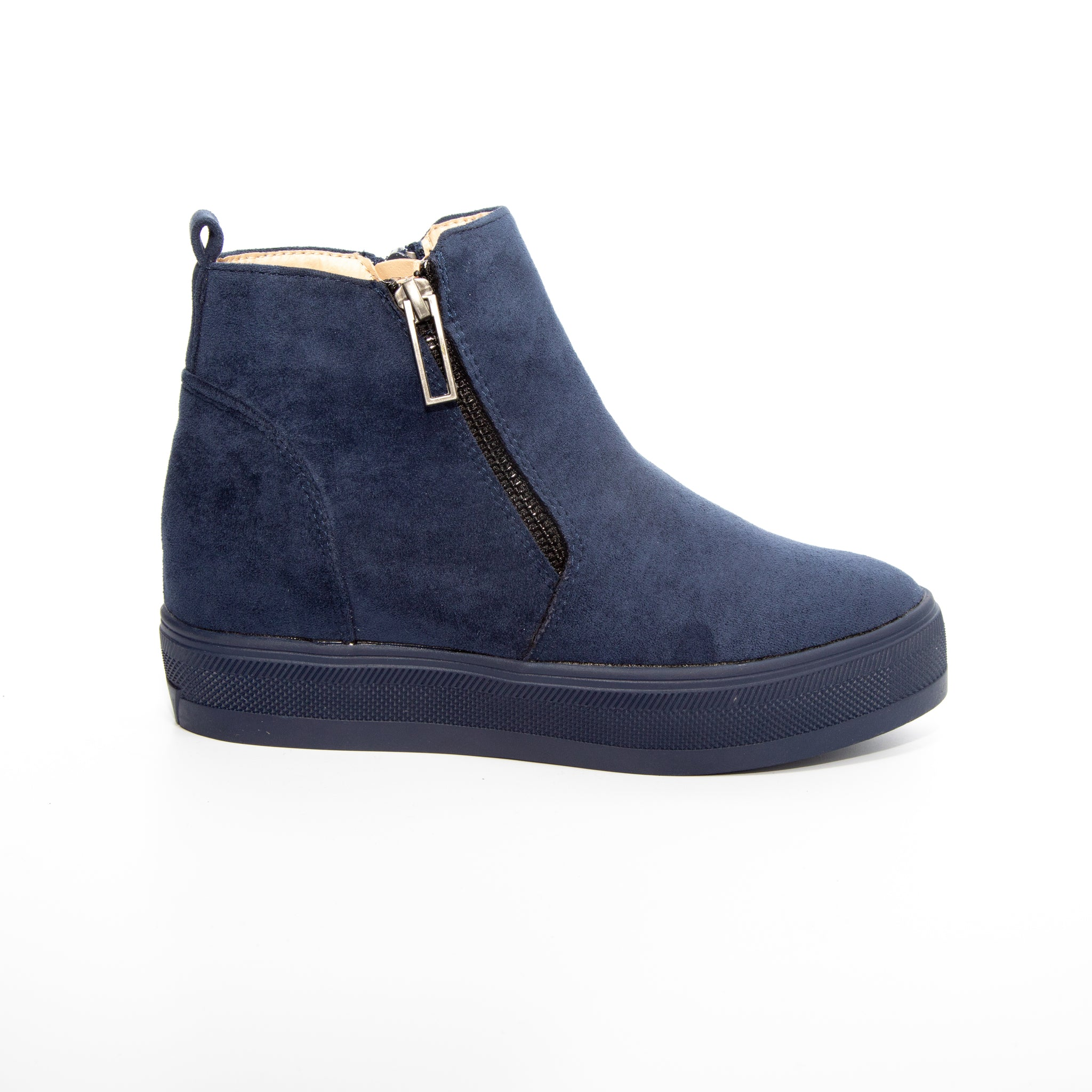 Solo by Dolce Nome | Flat Zipper Ankle Boots in Navy (side view)