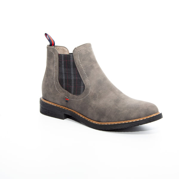 Torri by Dolce Nome | Flat Pull-On Ankle Boots in Gray (main view)