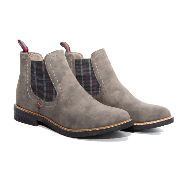 Torri by Dolce Nome | Flat Pull-On Ankle Boots in Gray (pair view)