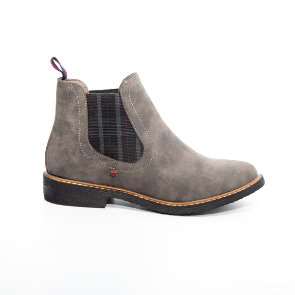 Torri by Dolce Nome | Flat Pull-On Ankle Boots in Gray (side view)