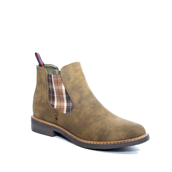 Torri by Dolce Nome | Flat Pull-On Ankle Boots in Olive (main view)
