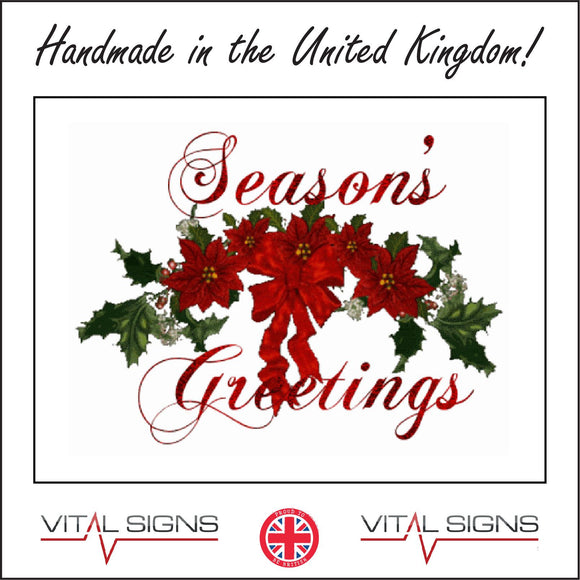 XM097 Seasons Greetings Sign with Bow Holly Flowers