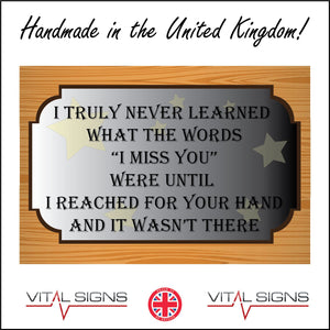 IN191 Never Learned Words I Miss You Hand Wasn't There Sign with Stars