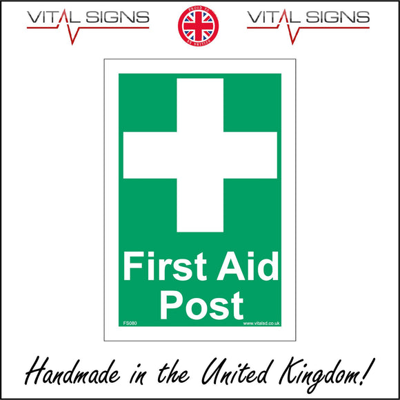 FS080 First Aid Post Sign with Cross