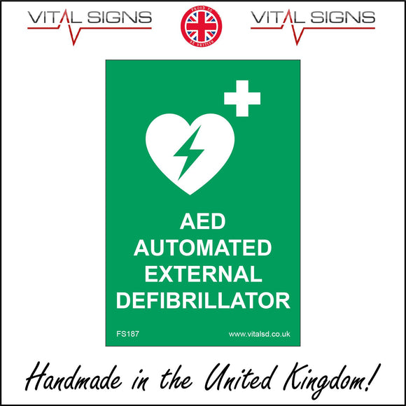 FS187 Aed Automated External Defibrillator Sign with Plus Sign Heart Lightning Bolt