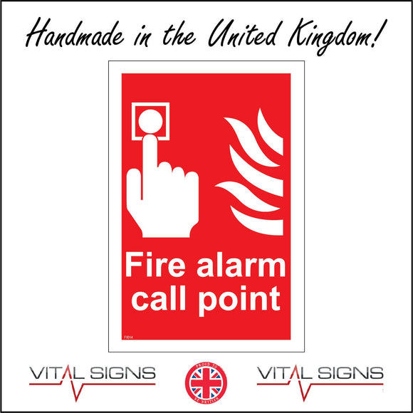 FI014 Fire Alarm Call Point Sign with Hand Button Fire