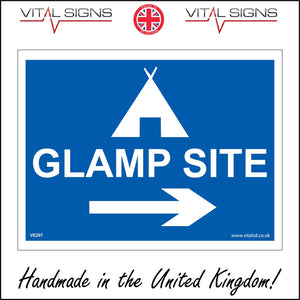 VE207 Glamp Site Right Arrow Sign with Tent Right Arrow