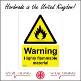 WS109 Warning Highly Flammable Material Sign with Triangle Fire