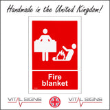 FI120 Fire Blanket Sign with People Fire Fire Blanket