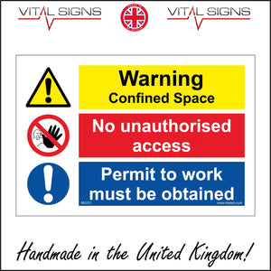 MU237 Warning Confined Space No Unauthorised Access Sign with 3 Circles Hand 2 Exclamation Marks