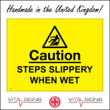 WS847 Caution Steps Slippery When Wet Sign with Triangle Person Slipping Backwards