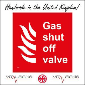 FI191 Gas Shut Off Valve Sign with Flames