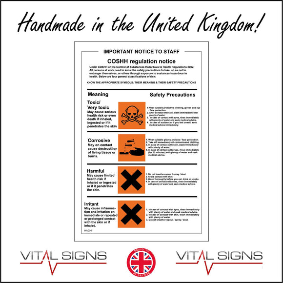 HA094 Coshh Sign Sign with Skull Crossbones Hands Acid X