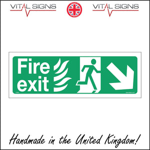 FS066 Fire Exit Right Sign with Running Man Arrow Door Fire