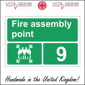 FS253 Fire Assembly Point 9 Sign with Arrows People Number 9