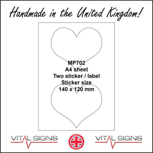 MP702 White Self Adhesive Sticky Label Sticker Custom A4 Sheet 2 Hearts Be Mine