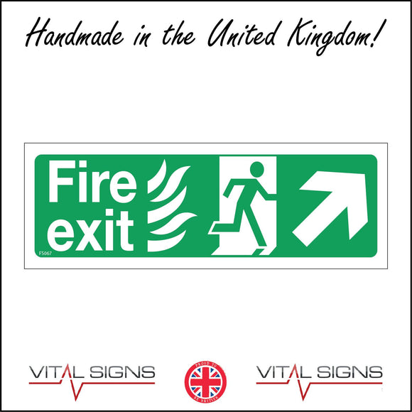 FS067 Fire Exit Right Sign with Running Man Arrow Door Fire