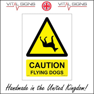 WS818 Caution Flying Dogs Sign with Triangle Dog Upside Down