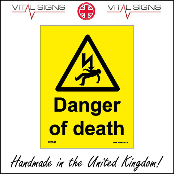 WS249 Danger Of Death Sign with Triangle Body Falling Lightning Arrow