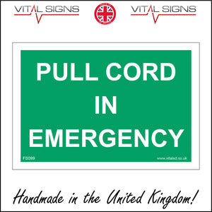 FS099 Pull Cord In Emergency Sign