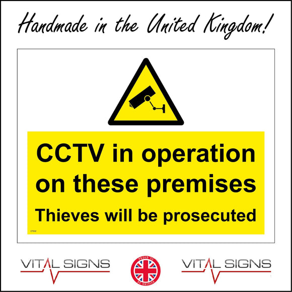 CT042 Cctv In Operation On These Premises Sign with Camera Triangle