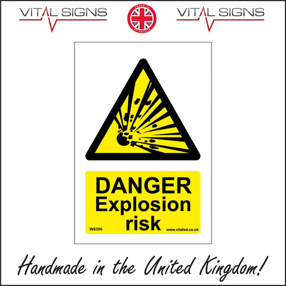WS596 Danger Explosion Risk Sign with Triangle Explosion