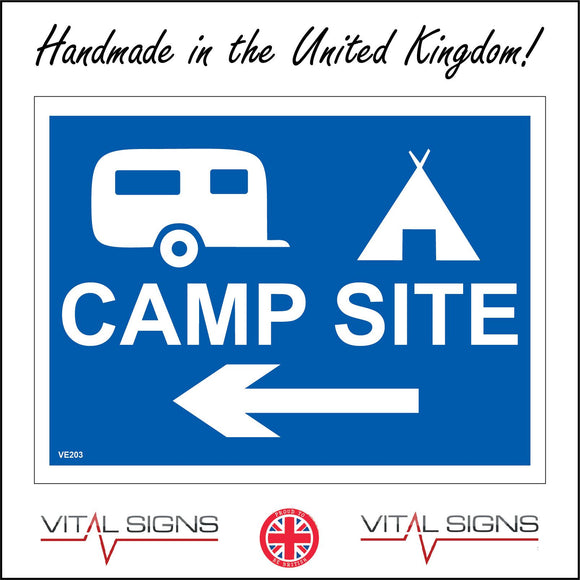 VE203 Camp Site Left Arrow Sign with Left Arrow Caravan Tent