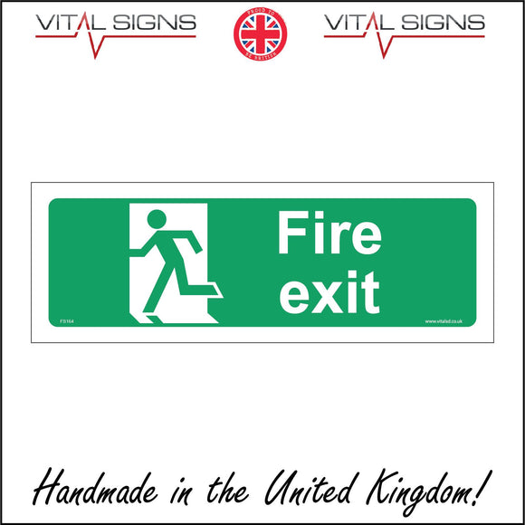FS168 Fire Exit Left Sign with Man Running Through Door