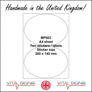 MP603 White Self Adhesive Sticky Label Sticker Custom A4 Sheet 2 Ovals Vinyl