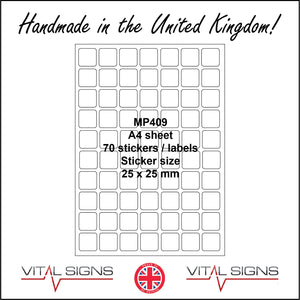 MP409 White Self Adhesive Sticky Label Sticker Custom A4 Sheet 70 Squares