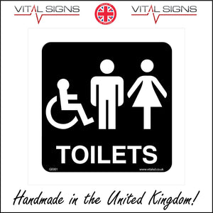 GE001 Toilets Sign with Man Woman Wheelchair