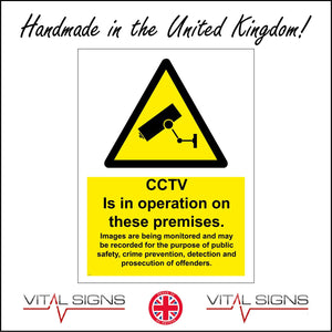 CT006 Cctv Is On These Premises Sign with Camera Triangle