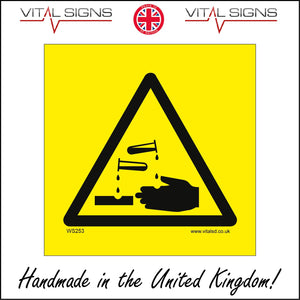 WS253 Acid Corrosive Sign with Triangle Hands Acid Test Tube