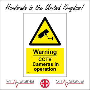 CT017 Warning Cctv Cameras In Operation Sign with Camera Triangle