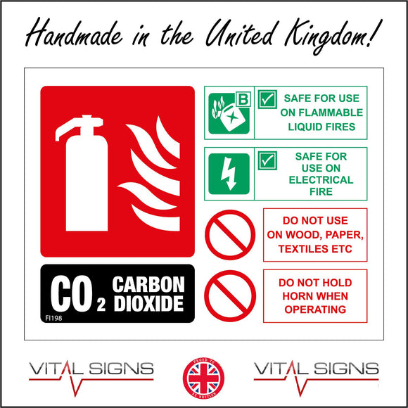 FI198 Carbon Dioxide Fire Extinguisher Sign with Fire Extinguisher Lightning Petrol Can 2 Circles
